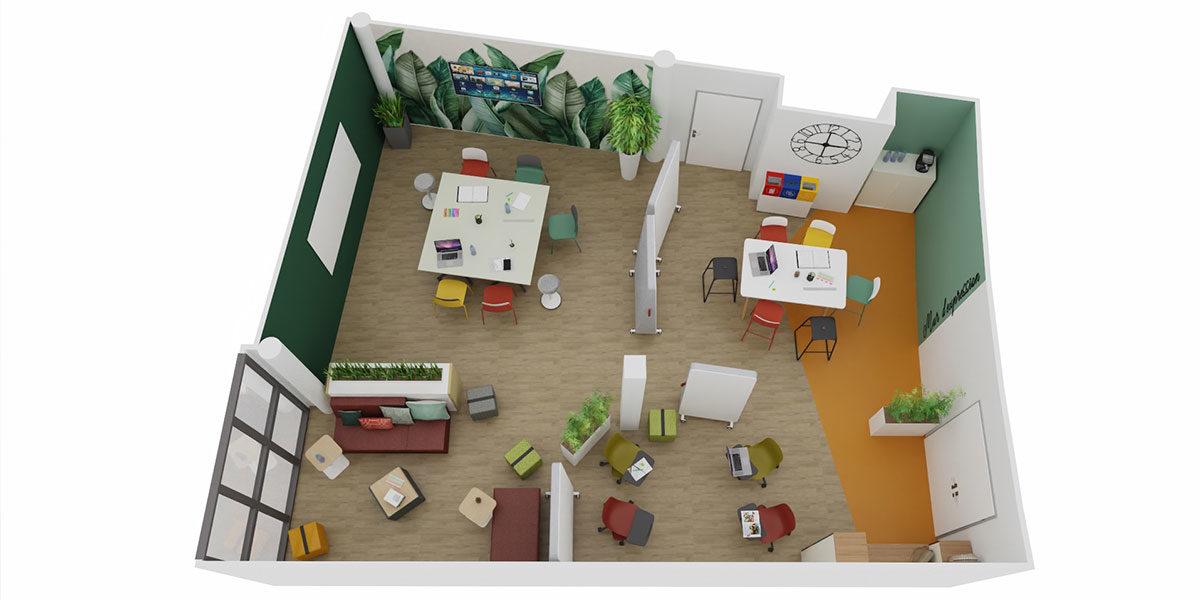 Bureau concept espace de travail créativité plan