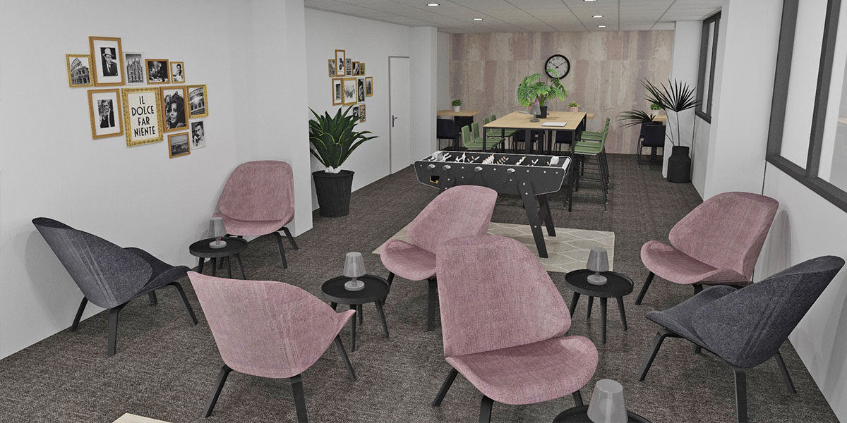 Bureau concept espace détente 3D